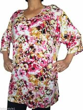 Geblümte 3/4 Arme Damenblusen,-Tops & -Shirts mit Rundhals für Freizeit