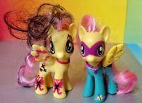 "(2) Fluttershy My Little Pony G4 Ponymania Power Ponies MLP 3"" Figure Brushable"