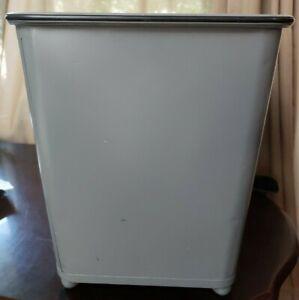Vintage Lawson Industrial grey Metal Waste Basket Trash Can new paint & seal