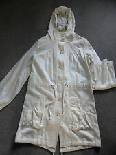 NEW RIVER ISLAND CREAM LINEN BLEND HOODED SUMMER PARKA COAT UK 12