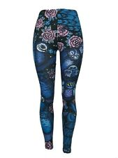 Halloween OWLS!! Feathers Flowers OS Leggings Blues Pinks Purples Black One Size