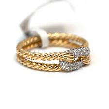 Nuevo David Yurman 18K Oro Diamantes cableados Bucle Petite Pave Anillo Tamaño 7