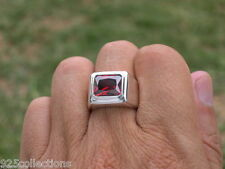 11x9 mm 925 Sterling Silver January Red Garnet CZ Solitaire Men's Ring Size 14