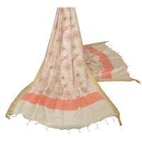 Tcw  Vintage Dupatta Long Stole Handloom Cotton White Hijab Painted Veil