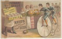Reid's Flower Seeds Victorian Trade Card with High-Wheel Bicycles