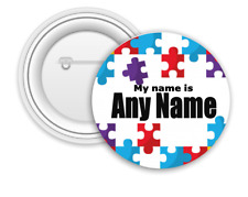 Personalised Autism Badge - 58mm Badge - Safety Pin back - Add any name - Jigsaw