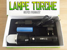 LAMPE TORCHE 4000 LUMENS 200W LED CREE 3 MODES FLASHLIGHT SUPER PUISSANT + PILE