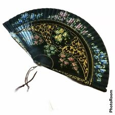 Antique Hand Painted Floral Flowers Lacquer Silk Fan