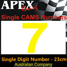 CAMS Window Number 7 Sticker - Single Number 23cm - Race Rally Drift - Yellow
