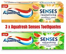 3x Aquafresh Senses Toothpaste Oral Care Energizing Fruity Flavor Family Pack