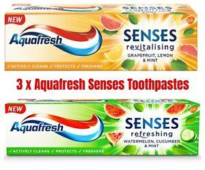 3x Aquafresh Senses Toothpaste Oral Care Energizing Fruity Flavor Family Pack