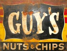 "TIN SIGN ""Guy's Nuts and Chips""   Food Vintage    Garage Wall Decor"