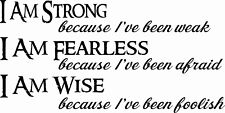I Am Strong 11 x 22 Motivational Vinyl Wall Decals by Scripture Wall Art
