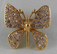 VINTAGE NAPIER BUTTERFLY PIN BROOCH WITH CLEAR RHINESTONES