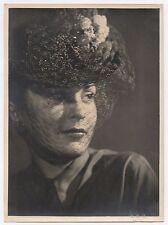 PHOTO ANCIENNE DE PRESSE Mode Chapeau Bibis à voilette Vers 1940-1950 Femme