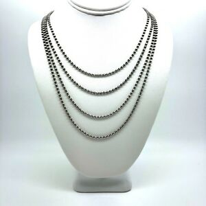 Navajo Pearls Sterling Silver 2mm Beads Necklace