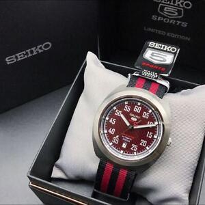 Seiko 5 Sports SRPA87J1 Automatic Limited Edition Red Black Nylon Analog Watch