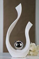 scultura moderna con porta tealight in ceramica bianco/Argento Altezza 48 cm B