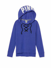Victoria Secret PINK Blue Slouchy Lace-Up Pullover Hoodie Sweatshirt S Small