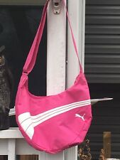 Puma Pink Bag Sport Lifestyle Gym Duffle Shoulder Hobo 100% Nylon White Stripes