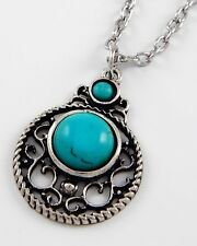 Western Cowgirl Rodeo Turquoise-Colored Round Silvertone Pendant Necklace #262-B