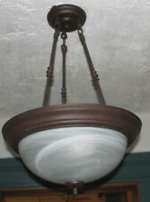 PENDANT DOME LIGHT FIXTURE DUST BROWN FINISH ALABASTER HANGING DECO CEILING