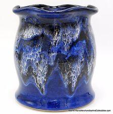 """Drip Glaze Pottery Utensil Holder Crock Blue White Fluted Rim Signed 7"""" NEW USA"""
