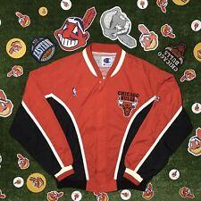 97-98 Champion Chicago Bulls Red & Black Warmup Jacket Large L Michael Jordan