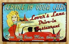 Lovers Lane Drive In Restaurant Service In You Car Tin Sign Garage Humor D16