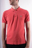 Lacoste Men`s Peach Orange Cotton Classic Polo Shirt Size 3 ( S )
