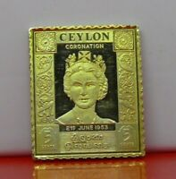 Gold plated Sterling Silver Stamp Ingot Ceylon 1953 Elizabeth II 5 Cents 11.6g