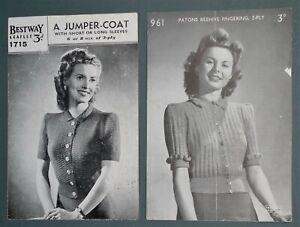 2 x  vintage 1930s 1940s knitting patterns ORIGINAL women's cardigans blouses UK