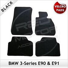 BMW SERIE 3 E90 E91 2005-2013 Velcro Pastiglie montato su misura moquette Tappetini Auto Nero