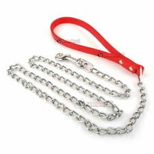 High Quality Heavy Duty Dog Chain Lead Pet Leather Strong Strap Handle Red Long