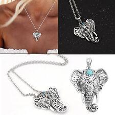 Maskottchen Siber Farbe Elefant.Halskette Türkis-Halskette Vintage-Schmuck Schic