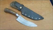 FINEST Lg Antique Hand-forged Carbon Steel Buffalo Skinning Hunting Knife w/Stag