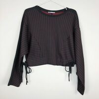 Zara Women's Black Red Pinstripe Tied Hem Crop Pullover Sweater Top Size Small