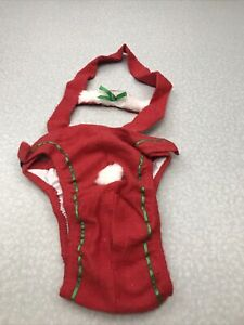 Santa Claus Red & Green Piddle Pad Dog Costume Size M KG RR49