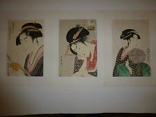 "Original Art Vintage Signed Japanese Geisha Prints-3 SET 10 1/2""x15 1/2"" 26D-EZ"