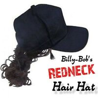 BILLY-BOB's RAY PONYTAIL-MULLET-WIG Redneck Cap Hat w/ Brown Hair - GaG Costume