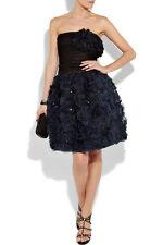 Oscar de la Renta NWT $5K '11 Black Blue Organza 3-D Detail Dress Gown US 10 Med