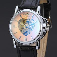 New Fashion Automatic Mechanical Women Dress Wrist Watch Skeleton Heart Leather