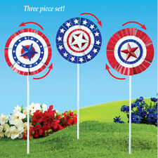 Set of 3 Patriotic 4th of July Bunting Wind Spinner Garden Stakes
