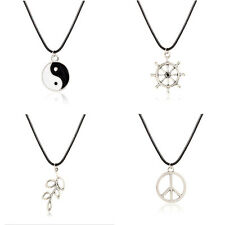 Fashion Black Leather Cord Choker Charm Necklace Tibetan Hippy Pendant