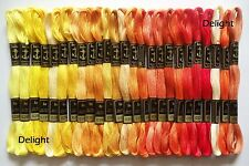 25 Anchor Cross Stitch Cotton Thread Floss/ skeins in Yellow Orange Colors