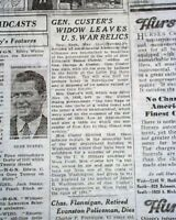 ELIZABETH BACON CUSTER George Armstrong's Widow WILLS War Relics 1933 Newspaper