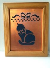 Primitive Wooden Framed Wall Hanging Art Kitten Cat Stencil Country Rustic 10x12