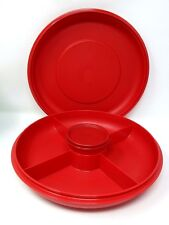 Tupperware Small Divided Serving Center w/ snack cup Red New