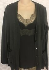 Escada Topset  Granite  Camisole Silk And Lace /Button Up Cardigan Size 38 Med