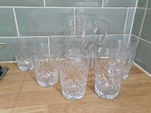 Vintage Crystal Check Garland Design Water Jug & 6 X Lemonade Glasses